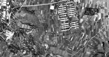 Danchi apartment complex site on the Sengawa River, circa 1945-1950.
